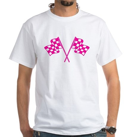 Pink Checkered Flags White T-Shirt
