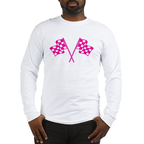 Pink Checkered Flags Long Sleeve T-Shirt