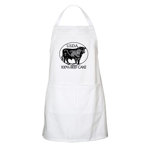 100 BEEF CAKE BBQ  Humor Apron by CafePress