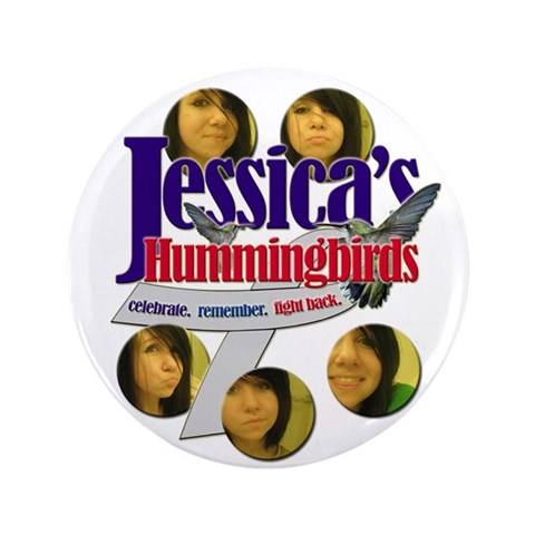 Jessica's Hummingbirds Button 3.5 in 100 pack  3.5 Button 100 pack by CafePress