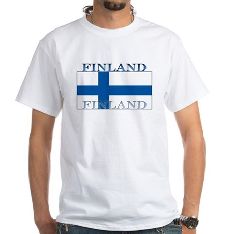 Finland Finish Flag White T-Shirt