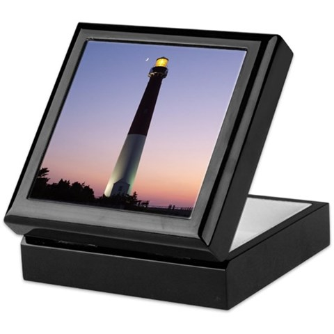 - Barnegat Light at sunset w/ moon Photography Keepsake Box by CafePress