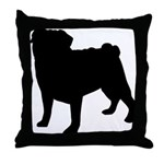 Pug Silhouette Throw Pillow