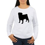 Pug Silhouette Women's Long Sleeve T-Shirt