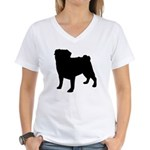 Pug Silhouette Women's V-Neck T-Shirt