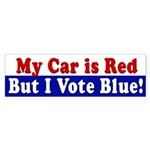 Red Car, I Vote Blue (bumper sticker)
