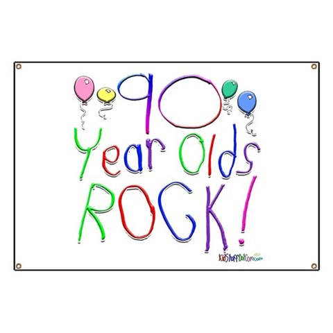 90 Year Olds Rock   Birthday Banner by CafePress