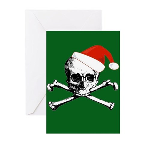 Pirate Skull Santa Xmas Cards Pack of 10 Blank Holiday Greeting Cards Pk of 10 by CafePress