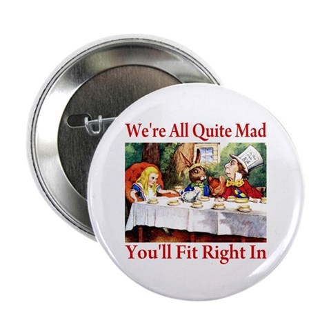 You'll Fit Right In - RED  Funny 2.25 Button 100 pack by CafePress