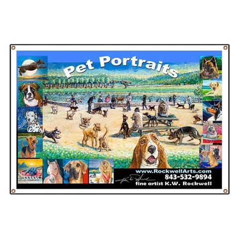 A Day at the Dog Park  Pets Banner by CafePress