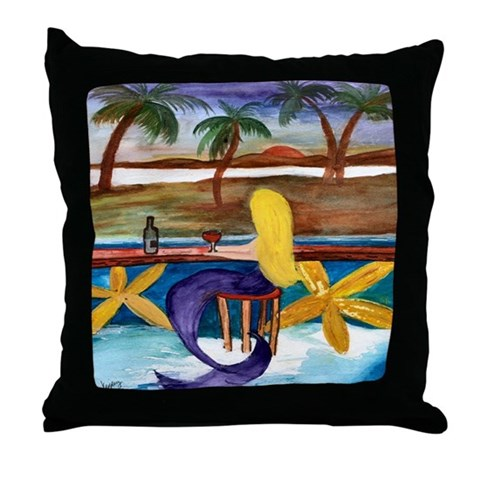 Mermaid Wine Bar  Mermaid Throw Pillow by CafePress