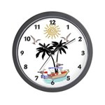 Boat To Paradise Wall Clock