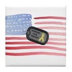 USA Flag Troops Tile Coaster