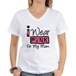 I Wear Pink Ribbon Women's V-Neck T-Shirt