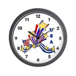 July 4th Fireworks Wall Clock