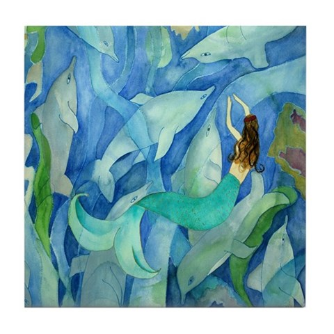 Dolphin amp; Mermaid Party Mermaid Tile Coaster by CafePress