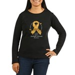 MS Butterfly Ribbon Women's Long Sleeve Dark T-Shi