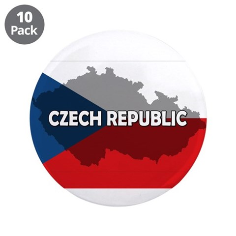 Czech Republic Flag Extra  Flag 3.5 Button 10 pack by CafePress