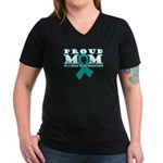 Tourette's Proud Mom Women's V-Neck Dark T-Shirt