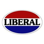 Liberal Red White and Blue Sticker (Oval)