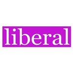 liberal bumper sticker (purple/white)