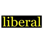 liberal bumper sticker (yellow/black)