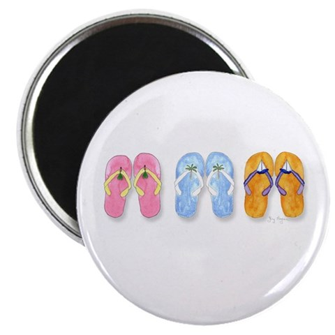 3 Pairs of Flip-Flops  Beach 2.25 Magnet 10 pack by CafePress