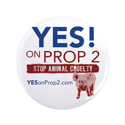 YES ON PROP 2  Animal rights 3.5 Button 100 pack by CafePress