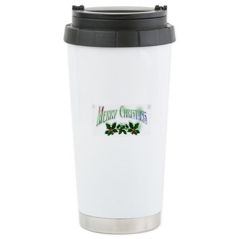merry christmas Christmas Ceramic Travel Mug by CafePress
