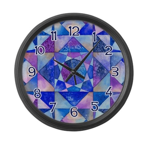 Blue Quilt Watercolor  Art Large Wall Clock by CafePress