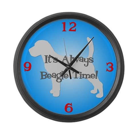 BEAGLE TIME Blue  Pets Large Wall Clock by CafePress