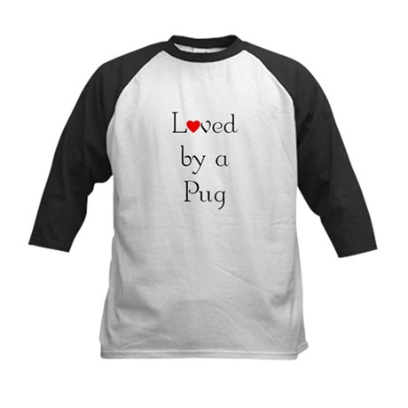 Loved by a Pug Kids Baseball Jersey