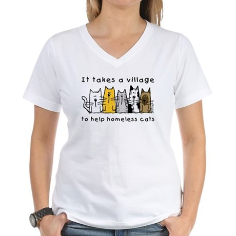 Takes a Village, Feral Cats Women's V-Neck T-Shirt