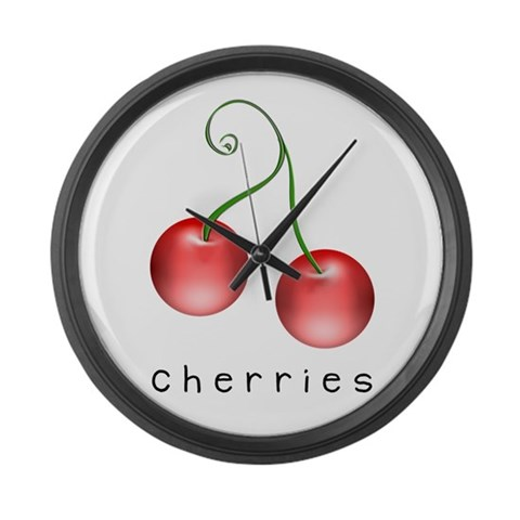 cherries  Art Large Wall Clock by CafePress