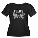 Police Tattoo Women's Plus Size Scoop Neck Dark T-