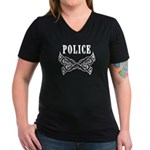 Police Tattoo Women's V-Neck Dark T-Shirt
