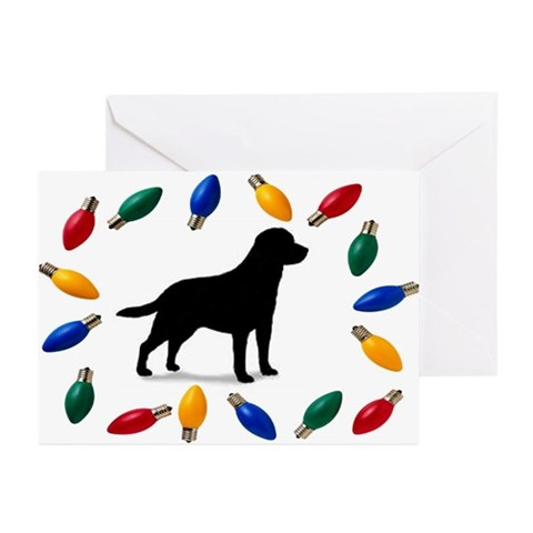 Christmas Lights Lab Christmas Card Pk of 10 Pets Greeting Cards Pk of 10 by CafePress