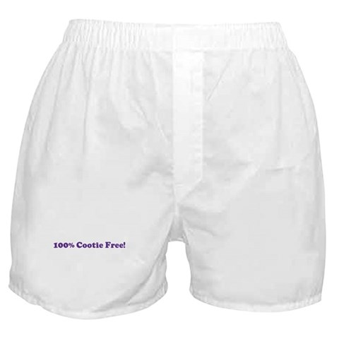 100 Cootie Free  Humor Boxer Shorts by CafePress