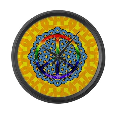 Celtic Knot Peace Symbol  Peace Large Wall Clock by CafePress