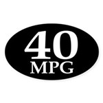 40 mpg (oval bumper sticker)