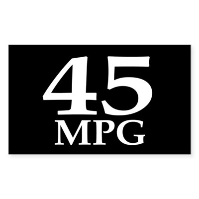 45 mpg (car mileage bumper sticker)