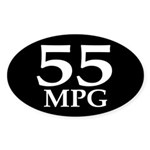 55 mpg (mileage oval bumper sticker)