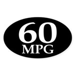 60 mpg (mileage oval bumper sticker)