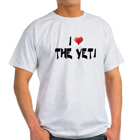 I LOVE THE YETI Ash Grey T-Shirt Bigfoot Light T-Shirt by CafePress