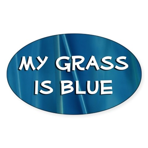 : My Grass is Blue  Bluegrass music banjo mandolin picking Oval Sticker by CafePress
