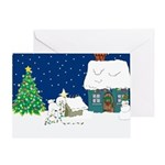 Christmas Lights Bichon Frise Ornaments & Cards
