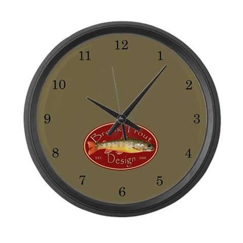 Brook Trout Logo  Sports Large Wall Clock by CafePress