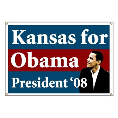 Hang this large Kansas for Obama banner out your window or carry it at a rally to show that the state of Kansas is turning blue in 2008.