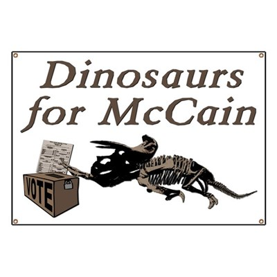John McCain's ideas are so moldy an old only a fossil would support them. Get this idea across with our Dinosaurs for McCain sign, made for rugged outdoor use.