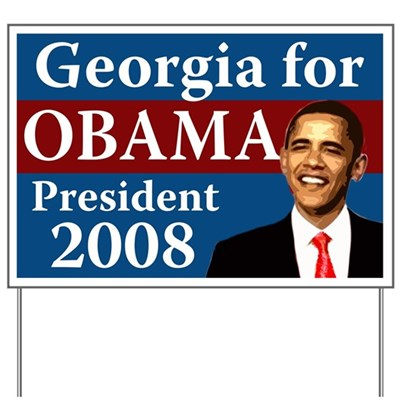 Voters in Georgia support Barack Obama for President because Obama looks to the future instead of trying to drag us back into the past. Join Georgia for Obama with this yard sign.